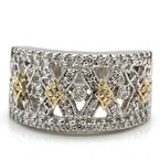 Unbranded 14K WHITE GOLD ROUND BRILLIANT CUT DIAMOND CRISS CROSS COCKTAIL RING #J8-8
