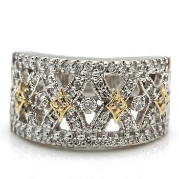 14K WHITE GOLD ROUND BRILLIANT CUT DIAMOND CRISS CROSS COCKTAIL RING #J8-8