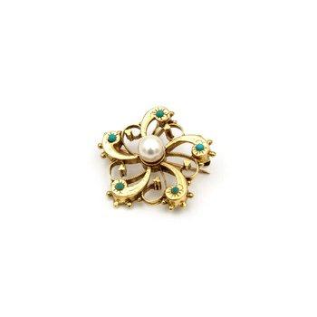 VINTAGE 14K GOLD PEARL & TURQUOISE CABOCHON OPEN FLOWER DESIGN PENDANT #956B-10