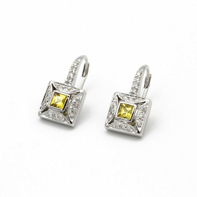 National Rarities 18K WHITE GOLD .55 CTW YELLOW SAPPHIRE & .32 CTW DIAMOND DANGLE EARRINGS #979B-7