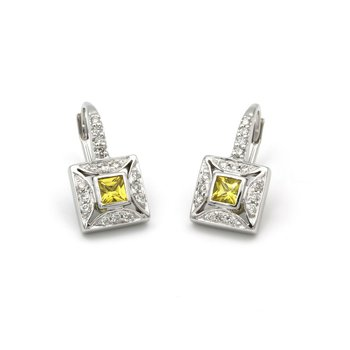 18K WHITE GOLD .55 CTW YELLOW SAPPHIRE & .32 CTW DIAMOND DANGLE EARRINGS #979B-7
