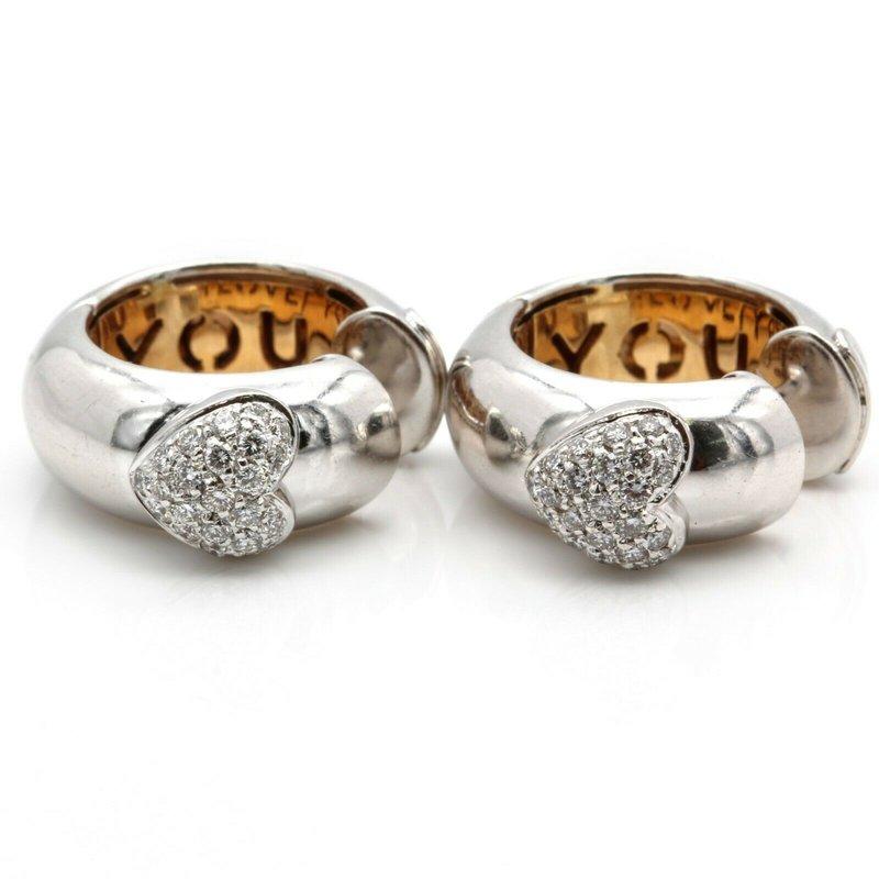 Craig Drake CRAIG DRAKE 18K WHITE GOLD I LOVE YOU DIAMOND HOOP EARRINGS 0.50 CTW J1501-S1