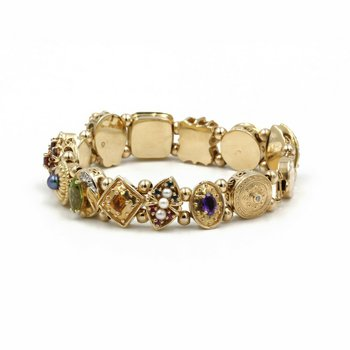 "14K YELLOW GOLD DIAMOND PEARL AND GEMSTONE SLIDE CHARM BRACELET 8"" #1007B-8"