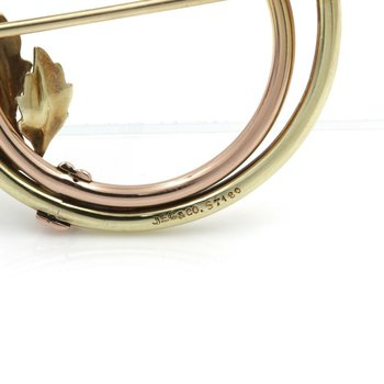 J.E. CALDWELL & CO 14K GOLD ROUND DIAMOND SAPPHIRE FLORAL BROOCH .66 CTW E1338-3