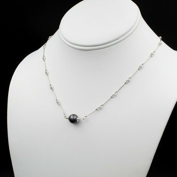 "18K WHITE GOLD 9.3 MM TAHITIAN PEARL AND 1.28 CTW DIAMOND 16"" NECKLACE #979B-9"