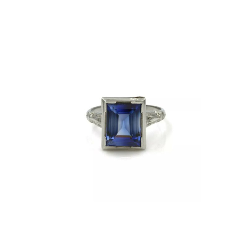 National Rarities ART DECO 14K WHITE GOLD AND SYN BLUE STEP CUT SAPPHIRE COCKTAIL RING #998B-6