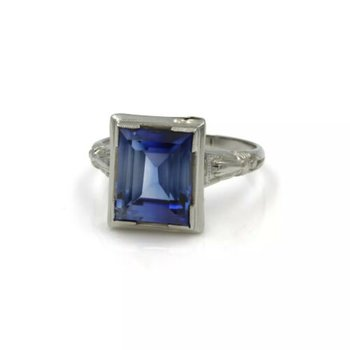 ART DECO 14K WHITE GOLD AND SYN BLUE STEP CUT SAPPHIRE COCKTAIL RING #998B-6
