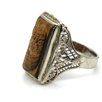 14K WHITE GOLD HAND CARVED CAMEO TIGERS EYE RING FILIGREE VINTAGE 1930S-1940S