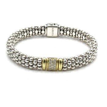 "LAGOS CAVIAR LUX DIAMOND 18K GOLD STERLING SILVER BEADED BRACELET 6.75"" #1106B-6"