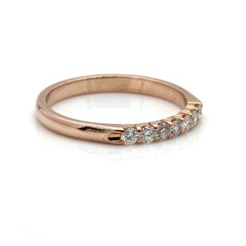 CLASSIC 14K ROSE GOLD ROUND BRILLIANT DIAMOND RING BAND 0.25 CTW SIZE 6.5 JB36-6