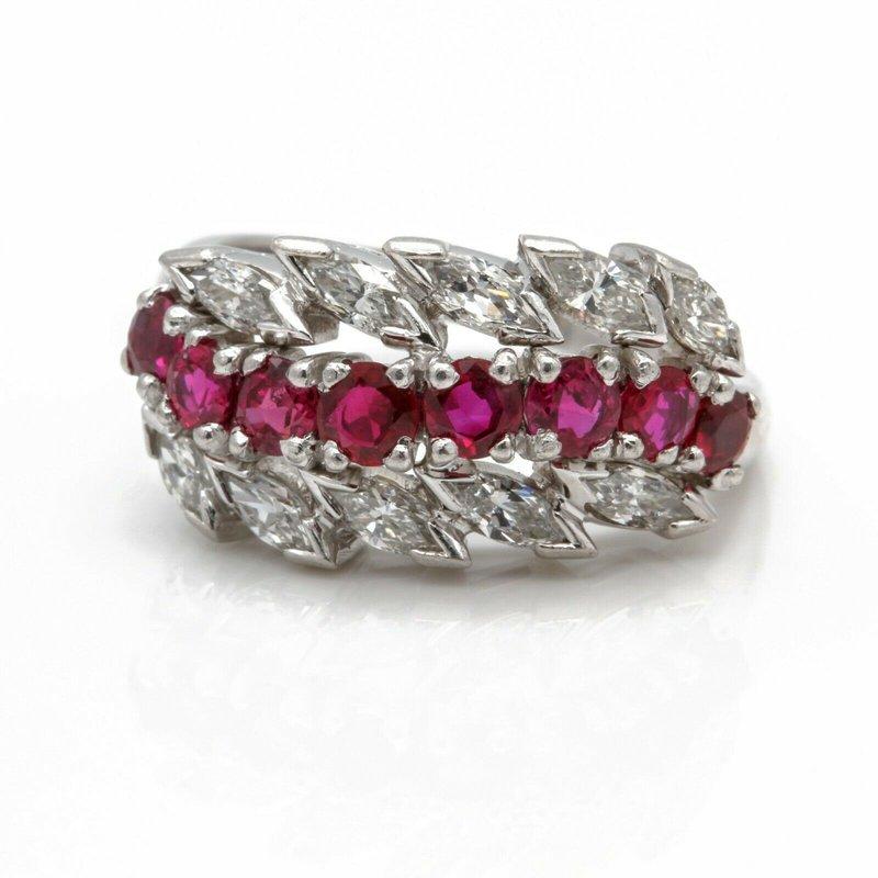 Ruby RETO PLATINUM ROUND RUBY MARQUISE DIAMOND FLORAL RING SIZE 6.25 2CTW #JB71-4