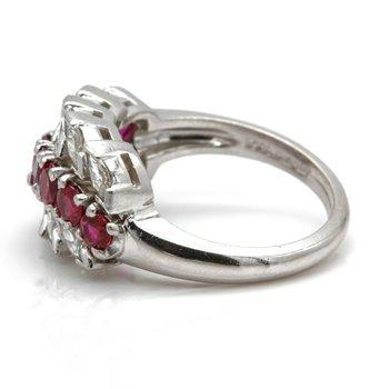 RETO PLATINUM ROUND RUBY MARQUISE DIAMOND FLORAL RING SIZE 6.25 2CTW #JB71-4