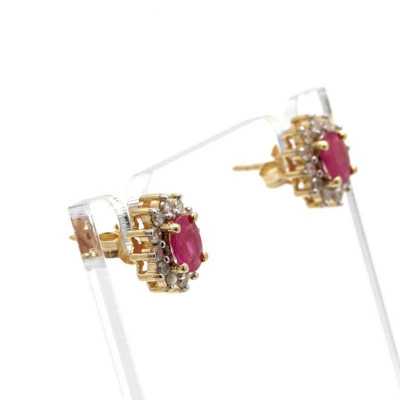 National Rarities 10K YELLOW GOLD BRILLIANT 0.24 CTW ROUND DIAMOND OVAL RUBY STUD EARRINGS JB63-10