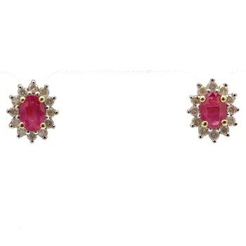 10K YELLOW GOLD BRILLIANT 0.24 CTW ROUND DIAMOND OVAL RUBY STUD EARRINGS JB63-10
