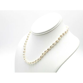 FRESHWATER PEARL WITH 14K WHITE GOLD BEAD SPACERS NECKLACE & BRACELET NR #1093B