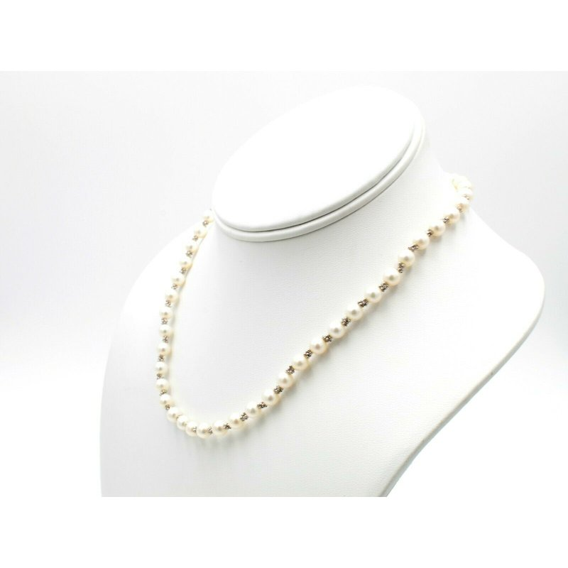 Unbranded FRESHWATER PEARL WITH 14K WHITE GOLD BEAD SPACERS NECKLACE & BRACELET NR #1093B