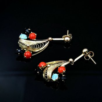 LOVELY 10K OPAL, RED CORAL, AND BLACK ONYX FILIGREE DANGLE EARRINGS- 965B-1