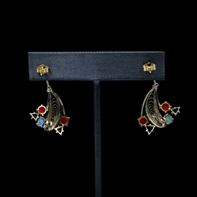 Unbranded LOVELY 10K OPAL, RED CORAL, AND BLACK ONYX FILIGREE DANGLE EARRINGS- 965B-1