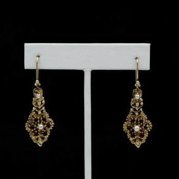 ANTIQUE 14K SOLID GOLD GARNET & PEARL VICTORIAN DANGLE EARRINGS #986B-8