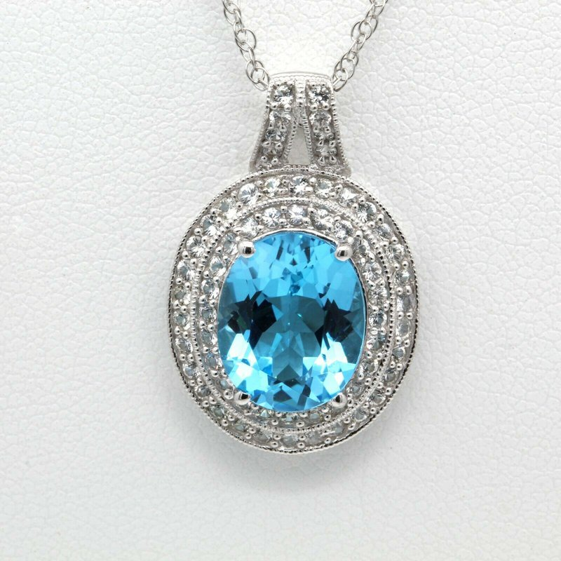 Unbranded 14K WHITE GOLD OVAL BLUE TOPAZ WHITE SAPPHIRE PENDANT NECKLACE 18 INCHES #J8-4