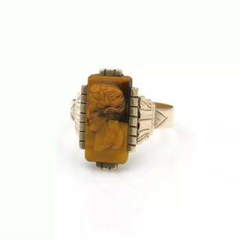 ANTIQUE 10K YELLOW GOLD AND TIGERS EYE INTAGLIO COCKTAIL RING SIZE 5 #998B-8