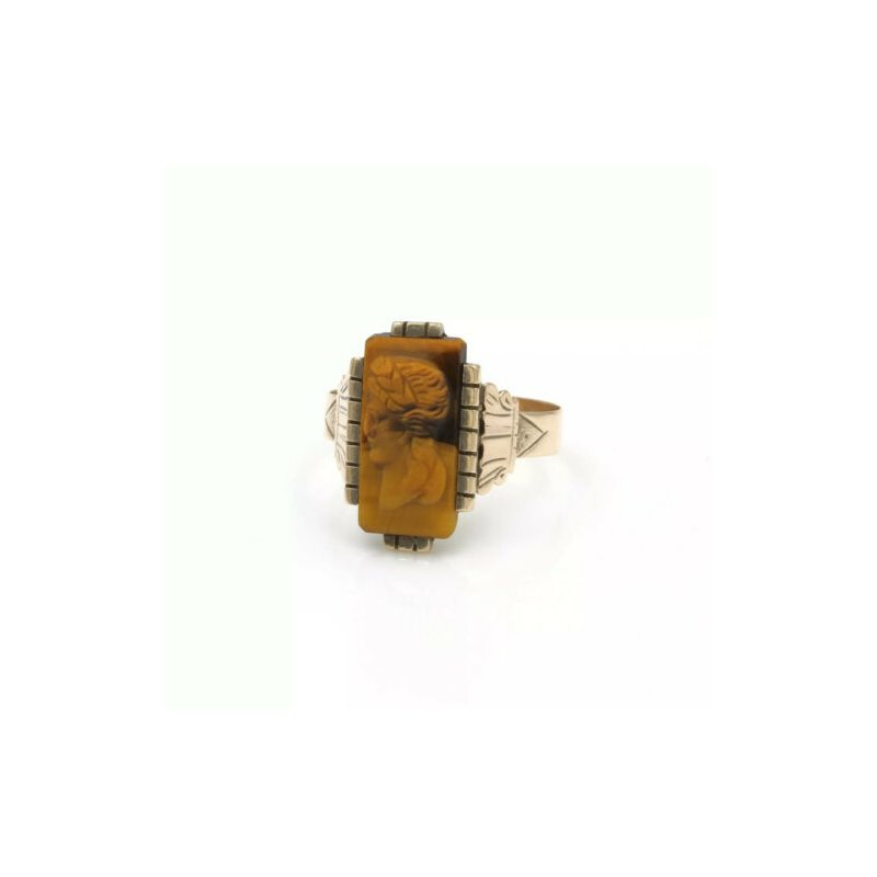 Antique ANTIQUE 10K YELLOW GOLD AND TIGERS EYE INTAGLIO COCKTAIL RING SIZE 5 #998B-8