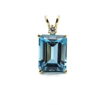 14K YELLOW GOLD BLUE TOPAZ EMERALD CUT PENDANT W/ DIAMOND ACCENT BASKET 1033B-3