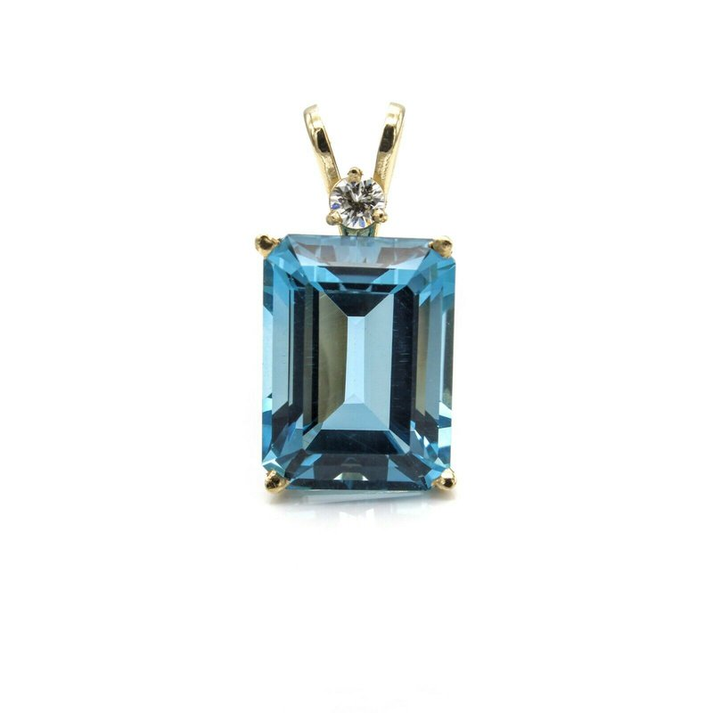 National Rarities 14K YELLOW GOLD BLUE TOPAZ EMERALD CUT PENDANT W/ DIAMOND ACCENT BASKET 1033B-3