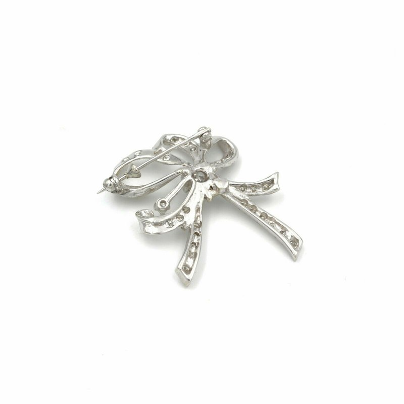 National Rarities CHARMING VINTAGE 14K WHITE GOLD AND DIAMOND BOW PIN 1.0 CTW E-92