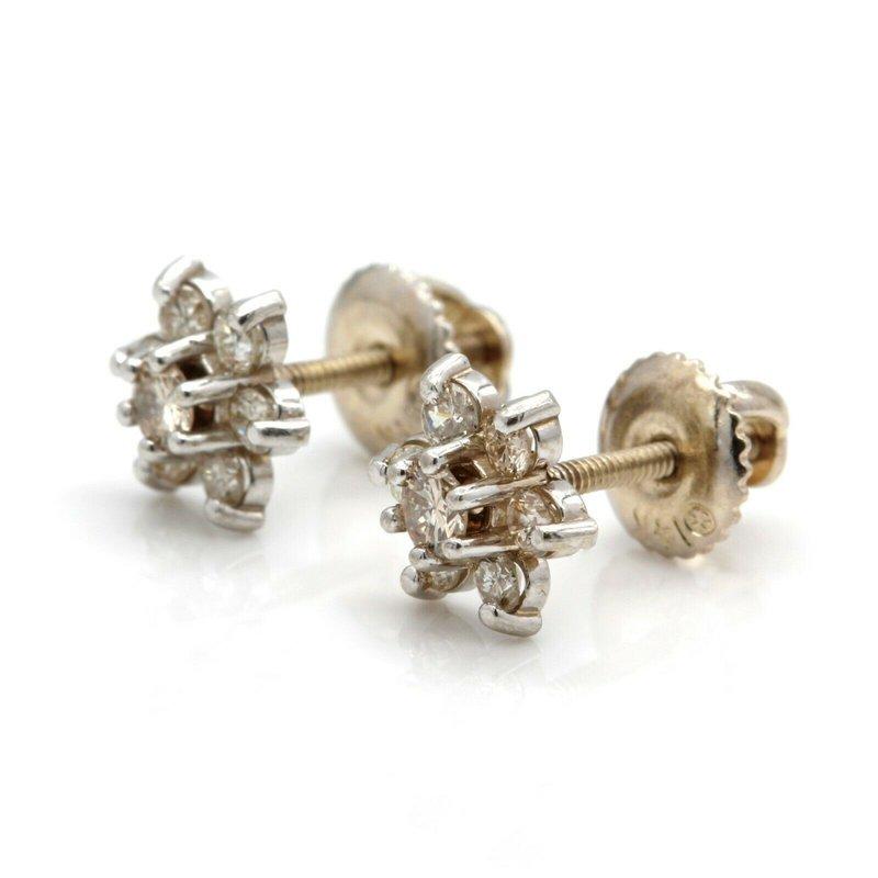 National Rarities 14K WHITE GOLD 0.30 CTW DIAMOND FLOWER SCREW BACK STUD EARRINGS #JB35-10