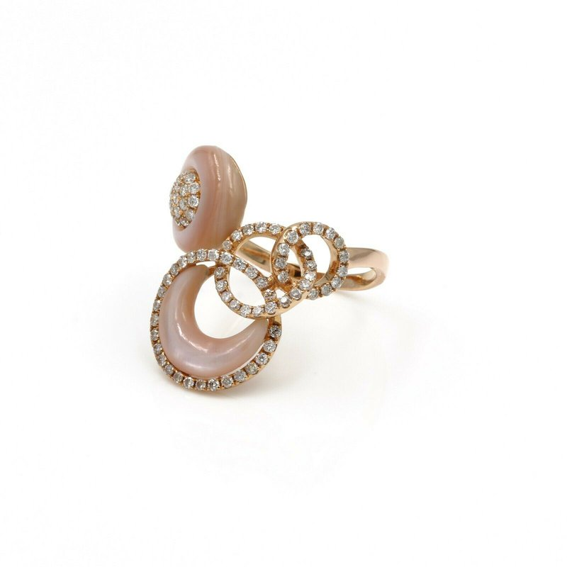 National Rarities 18K ROSE GOLD 0.76 CTW DIAMOND & MOTHER OF PEARL UNIQUE RING SIZE 8 #1036B-2