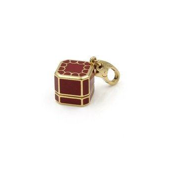 CARTIER 18K GOLD VINTAGE ICONIC RED JEWELRY BOX CHARM W/ DIAMOND .03 CT #1009B-3
