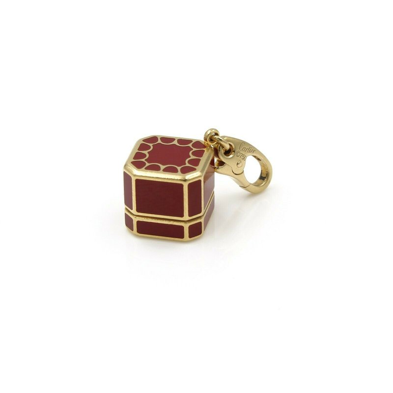 Cartier CARTIER 18K GOLD VINTAGE ICONIC RED JEWELRY BOX CHARM W/ DIAMOND .03 CT #1009B-3