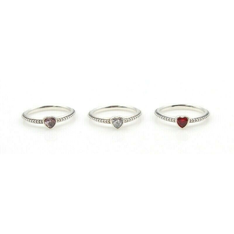 "Pandora THREE PANDORA STERLING SILVER HEART GEMSTONE ""ONE LOVE"" RING SIZE 6 #763B-9"