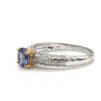18K WHITE GOLD 0.88 CT ROUND TANZANITE AND PAVE DIAMOND RING SIZE 6.75 #JB75-6