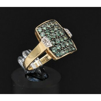 14k GOLD RING w/ .80 CTW GREEN STONES & .04 CHAMPAIGN DIAMONDS SZ 6 NR #J3-1
