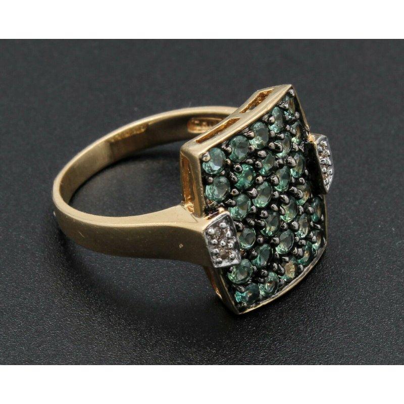 National Rarities 14k GOLD RING w/ .80 CTW GREEN STONES & .04 CHAMPAIGN DIAMONDS SZ 6 NR #J3-1