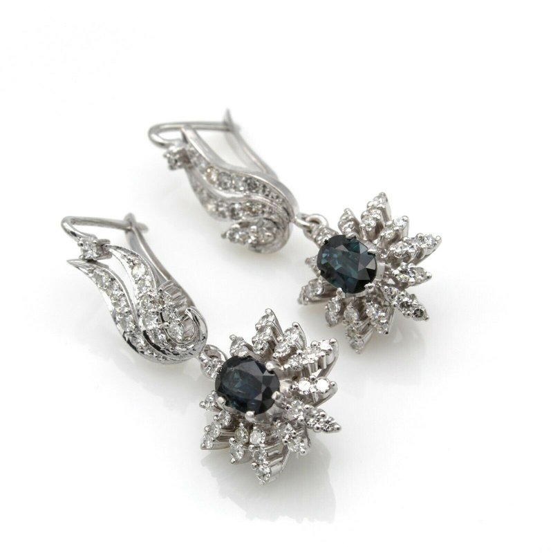 National Rarities GLAMOROUS 14K WHITE GOLD OVAL SAPPHIRES & DIAMONDS DROP EARRINGS 4.4 CTW 1105B-4