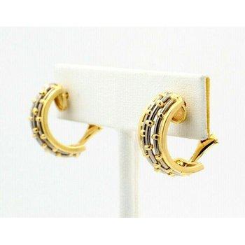 CARTIER 18K SOLID GOLD & STEEL BASKET WEAVE DOME HOOP EARRINGS #D20-7
