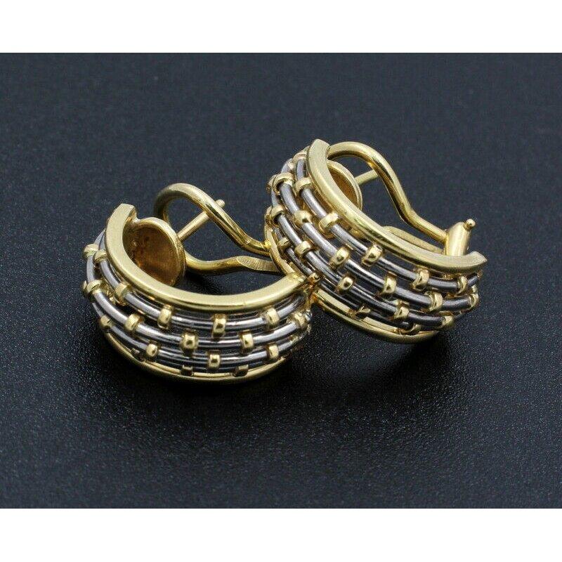 Cartier CARTIER 18K SOLID GOLD & STEEL BASKET WEAVE DOME HOOP EARRINGS #D20-7