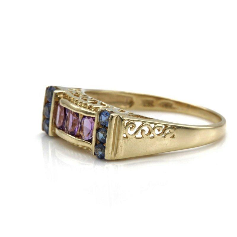 National Rarities 10K YELLOW GOLD 1.08 CTW OVAL AMETHYST ROUND SAPPHIRE SCROLL DESIGN RING JB77-3