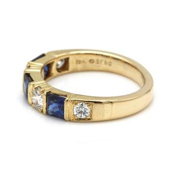 14K YELLOW GOLD PRINCESS SAPPHIRE ROUND BRILLIANT DIAMOND RING SIZE 5 #JB41-7