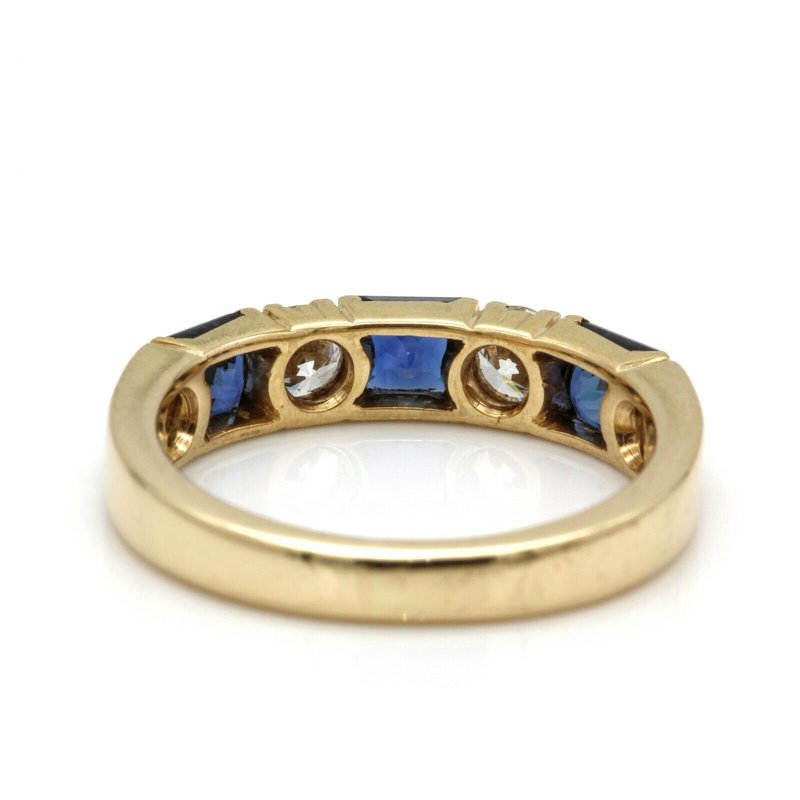 Unbranded 14K YELLOW GOLD PRINCESS SAPPHIRE ROUND BRILLIANT DIAMOND RING SIZE 5 #JB41-7