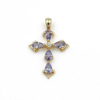 14K YELLOW GOLD .41 CTW PEAR AMETHYST ROUND DIAMOND CROSS PENDANT PETITE #973B-9