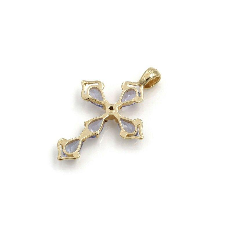 National Rarities 14K YELLOW GOLD .41 CTW PEAR AMETHYST ROUND DIAMOND CROSS PENDANT PETITE #973B-9