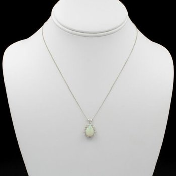 "14K WHITE GOLD VINTAGE 1.90 CTW OPAL W/ DIAMOND HALO NECKLACE 16"" #1005B-10"