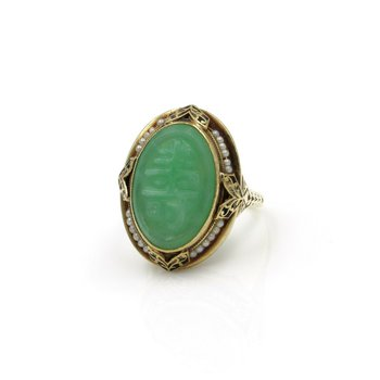 14K SOLID GOLD OVAL CARVED CHRYSOPRASE W/ SEED PEARL RING SIZE 6.25 #1038B-3