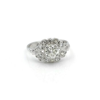 VINTAGE PLATINUM OLD EUROPEAN ROUND CUT DIAMOND RING 1.20CTW SIZE 6.75 #E338
