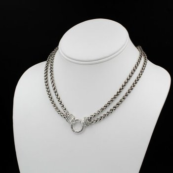 DAVID YURMAN CIRCLE .36CTW DIAMOND STERLING DOUBLE WHEAT CHAIN NECKLACE #1002B-7