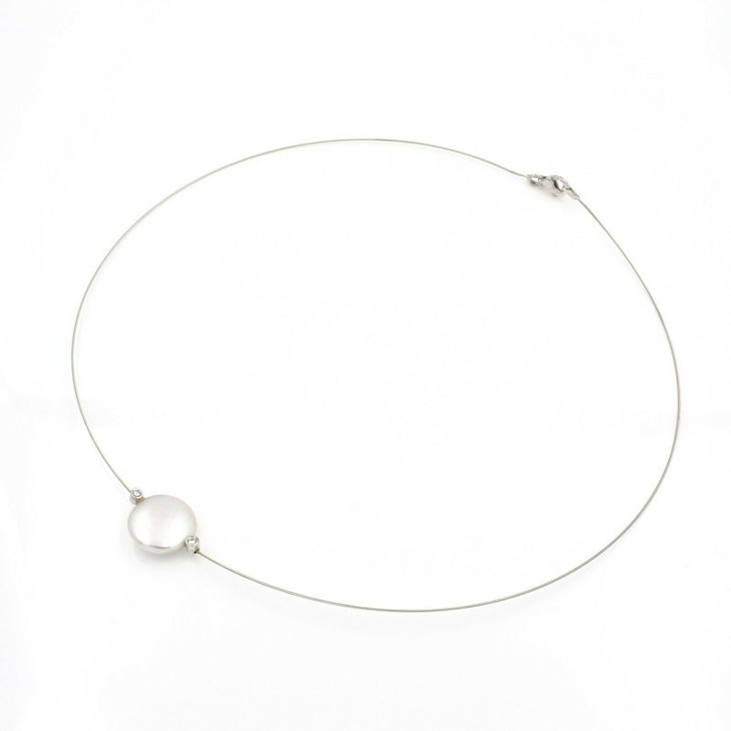 Unbranded 18K WHITE GOLD COIN PEARL ROUND DIAMOND ACCENT ILLUSION NECKLACE #JB39-1